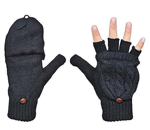 Fasker Women Knit Wool Gloves Fingerless Winter Warm Flip Gloves Mittens