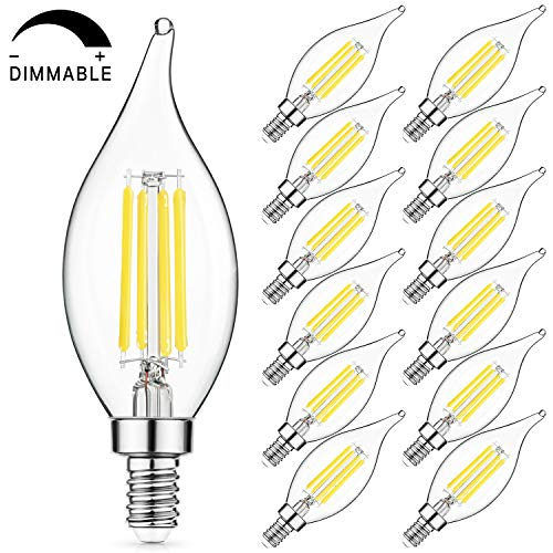 (SHINE HAI Dimmable LED Candelabra Bulbs 60W Equivalent, 4000K Daylight  White, 600 Lumens, E12 Filament Vintage LED Chandelier Bulbs, Decorative Candle Light Bulbs with Glass Flame Tip, Pack of 12)