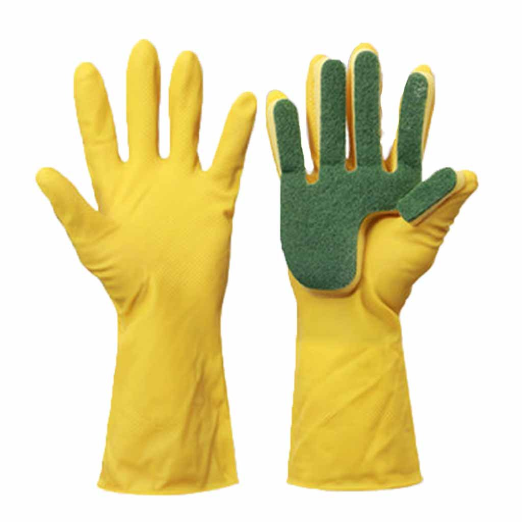RenShiMinShop Latex and scouring pad washing waterproof gloves Kitchen durable thin convenient gloves