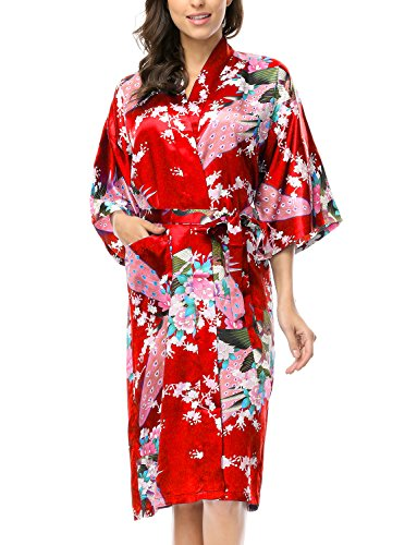 Geisha Gown Red Costumes - CHENXI Women Silk Satin Dressing Gown