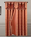 Cheap All American Collection New 2 Panel Jacquard-Like Polyester Curtain with Attached Valance and Sheer Backing (Orange)