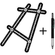 Multi Angle Measuring Ruler, Hinmay Premium Aluminum Alloy Angle-izer Template Tool with Full Metal Multi-Tool Pen, Ultimate Metal Measurement Instrument for Woodworking Masonry Carpentry Brickwork