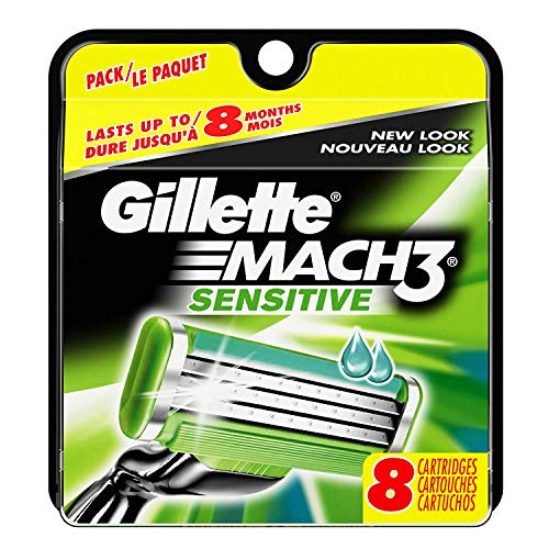Gilletté Mach 3 Sensitive Razor Refill Cartridges 8-Count (Packaging may vary) by Mach 3