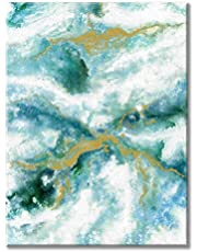 Teal Abstract Picture Wall Artwork: Modern Contemporary Art Hand Painted on Canvas for Bedroom (24'' x 18'' x 1 Panel)