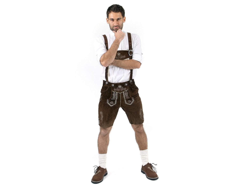 Cuir Craft Mens Lederhosen German Bavarian Lederhosen Oktoberfest Choc Brown Short Length
