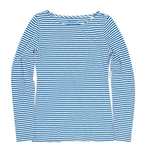J.Crew Mercantile Women's Plus Size Long Sleeve Striped Boatneck T-Shirt, Crisp sea/Navy, 3X