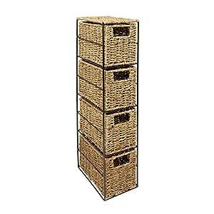 woodluv Junco Marino de la Torre de Mueble para 4-cajones