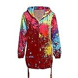 FengGa Fashion Womens Tie Dyeing Print Coat Outwear Sweatshirt Hooded Jacket Colorful Overcoat Wine