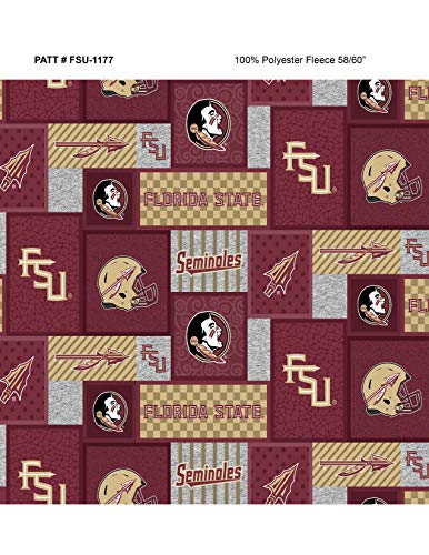 Florida State Fleece Blanket Fabric-Florida State Seminoles Fleece Fabric with New Patch Pattern-Sold by The Yard
