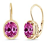 4.80 Ct Oval Pink Created Sapphire 18K Yellow Gold Plated Silver Dangle Earrings