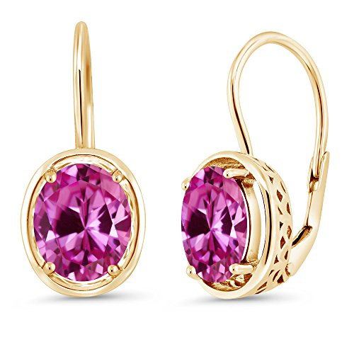 Pink Earrings Oval Sapphire (4.80 Ct Oval Pink Created Sapphire 18K Yellow Gold Plated Silver Dangle Earrings)