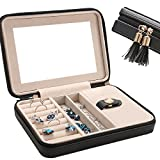 LE PAPILLION Small Jewelry Box Travel Jewelry Box Jewelry Travel Case Jewelry Organizer with Large Mirror, Gifts for Women, Great Gift Idea(Black)