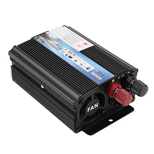 Solar Charger Inverter, All in One 500W Solar Panel Battery Intelligent Regulator Chargeing Controller for Household, outdoor trip camping, Vehicle RV truck Charging Black(12v transform 110V / 500W)