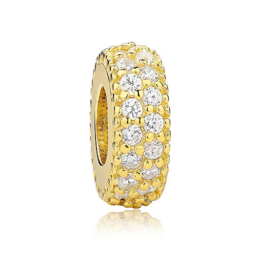 Inspiration Within with Fancy CZ Spacer 925 Sterling Silver Bead Fits European Charm Bracelet (Golden) ()