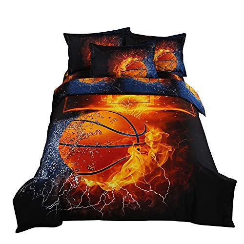 ZHH 3D Duvet Cover Sets Full Size Sports Basketball Fire Pattern Kids Bedding Set Ultra Soft Quilt Cover for Boys, Kids and Teens (1 Duvet Cover + 2 Pillowcases) (Full, Basketball Fire)