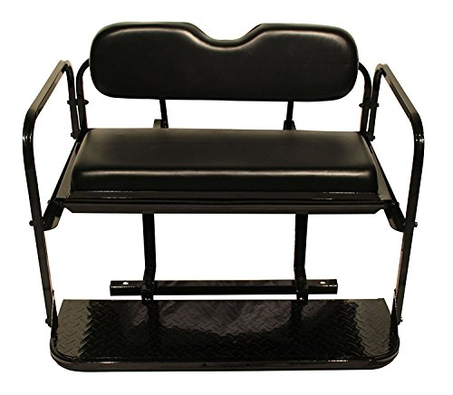 Club Car DS Golf Cart Rear Flip Folding Back Seat Kit, 2000.5 and Up - All Factory Colors ( Black Cushions) (Club Car Back Seat Flip Up)