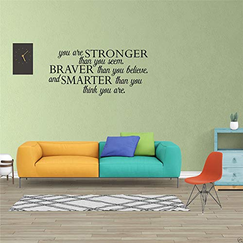 (Wall Decal Removable Quote Decor Design Decal You are Stronger Than You Seem Braver Than You Believe for nusery Kids Room Boys Girls)