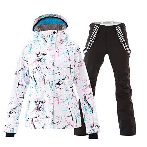 f973e472dfa Women s Ski Jackets and Pants Set Windproof Waterproof Snowsuit Black XL
