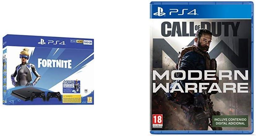 Playstation 4 (PS4) - Consola 500 Gb + 2 Mandos Dual Shock 4 + Contenido Fortnite (Exclusiva Amazon) + Call of Duty: Modern Warfare (Exclusiva Amazon): Amazon.es: Videojuegos