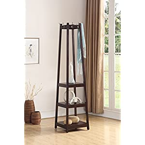 Roundhill Furniture Vassen Coat Rack with 3-Tier Storage Shelves, Black Finish