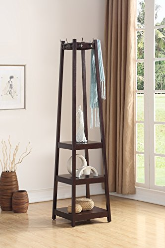 Roundhill Furniture Vassen Coat Rack with 3-Tier Storage Shelves, Espresso Finish (Rack Brown Coat)