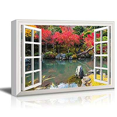 Canvas Wall Art - Window Peering into a Colorful Forest with a Lake - Giclee Print Gallery Wrap Modern Home Art Ready to Hang - 12x18 inches