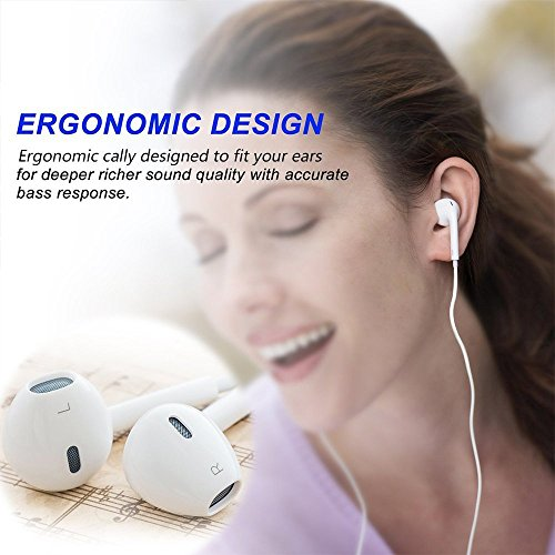 VANVENE Earphones/Earbuds/Headphones[2 Pack] Premium Earbuds for iPhone 6/6s/6plus/5/5s iPod iPad and More Android Smartphones - White by VANVENE (Image #4)