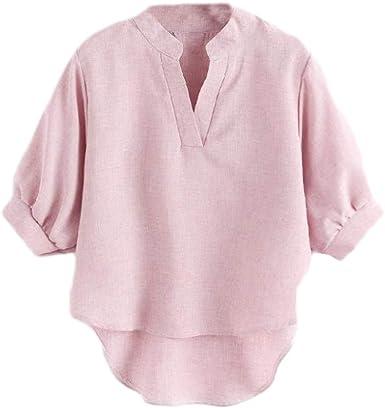 DUJIE Tops de Cuello en V Pullover Blusa para Mujeres Chica ...