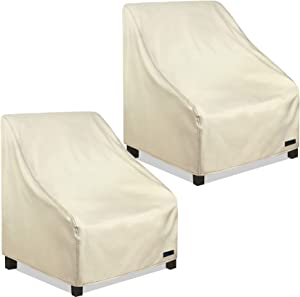 NettyPro Patio Chair Covers 30 Inch Waterproof 600D Heavy Duty Outdoor Seat Covers 2 Pack, Beige
