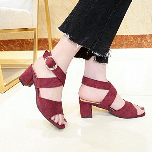Voberry Sandalen, Frauen Fisch Mund High Heels Keil Dick mit Sandalen Schnalle Slope Sandalen Rot