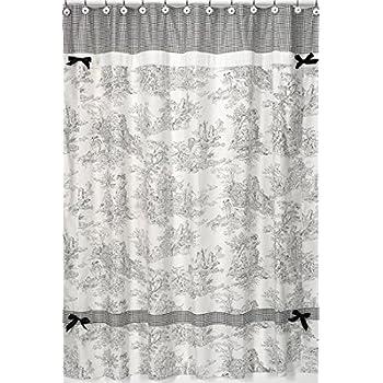 Amazon.com: Victoria Park Toile Bathroom Shower Curtain, Black ...
