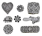 PARIJAT HANDICRAFT (Set of 8) Mughal Design Wooden Printing Stamp Block Hand-Carved for Saree Border Making Pottery Crafts Textile Printing
