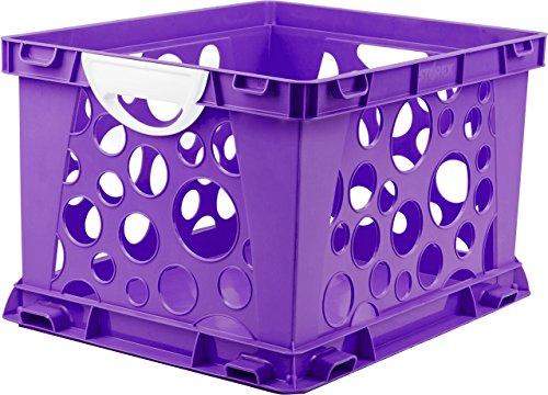 "Storex Premium File Crate with Handles, 17.25 x 14.25 x 10.5"", Classroom Purple, Case of 3 (61459U03C)"