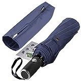 Anntrue Windproof Travel Umbrella, 10 Ribs Lightweight Umbrella for Women and Men Teflon Coating with Auto Open Close Button, Zipper Pouch (Blue)