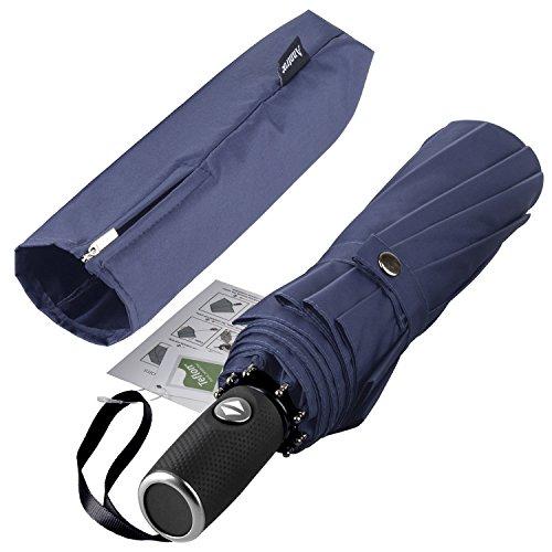 (Anntrue Windproof Travel Umbrella, 10 Ribs Lightweight Umbrella for Women and Men Teflon Coating with Auto Open Close Button, Zipper Pouch (Blue))