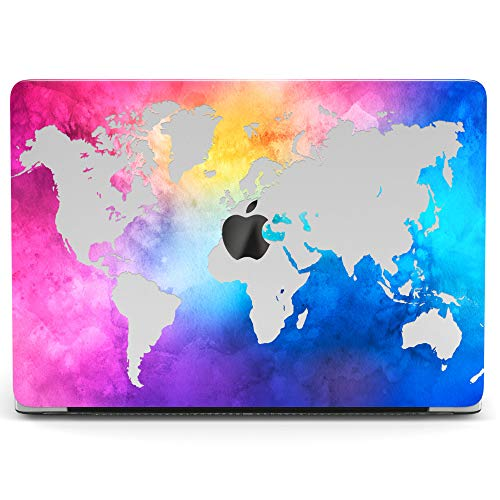 Wonder Watercolor - Wonder Wild Mac Retina Cover Case For MacBook Pro 15 inch 12 11 Clear Hard Air 13 Apple 2019 Protective Laptop 2018 2017 2016 2015 Plastic Print Touch Bar World Map Watercolor Continents Female Purple