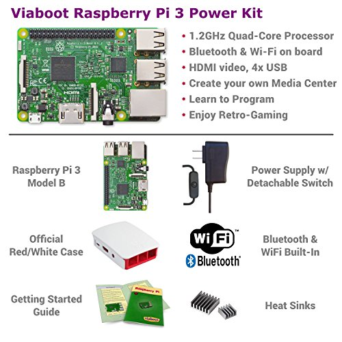 Viaboot Raspberry Pi 3 Power Kit — UL Listed 2.5A Power Supply, Official Red/White Case Edition by Viaboot (Image #1)