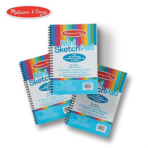 Melissa & Doug Mini Sketch Pad of Paper (6 x 9 inches) - 50 Sheets, 3-Pack (Best Pad For Toddlers)
