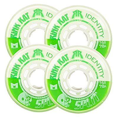 Rink Rat Wheels 72mm 78a Identity Split 4-Pack Green/White Inline Indoor Hockey : Sports & Outdoors