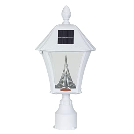 480e2f7c944 Baytown Solar Outdoor White Post Light with Warm-White LEDs and 3 in.  Fitter Mount - - Amazon.com