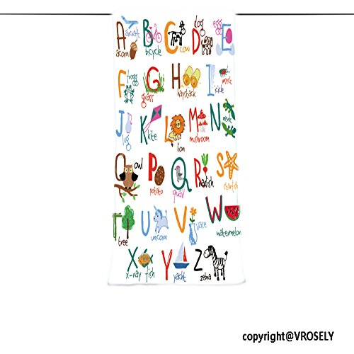 VROSELV Custom Towel Soft and Comfortable Beach Towel-hand drawn alphabet with words and icons vector kids abc Design Hand Towel Bath Towels For Home Outdoor Travel Use (Abc Hooded Towel Set)