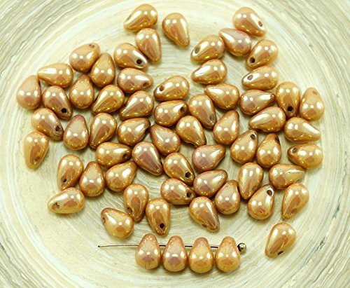 - 40pcs Pink Gold Luster Czech Glass Small Teardrop Beads 4mm x 6mm