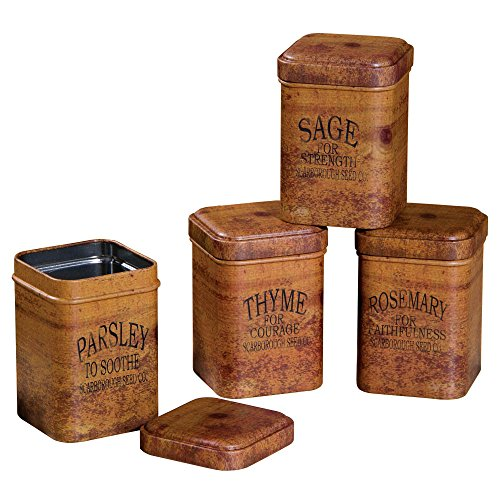 Vintage Look FOOD SAFE Herb Tins Spice Containers Storage Primitive Decor - Set of 4 including ThymeSageParsleyRosemary (You will receive all 4) -