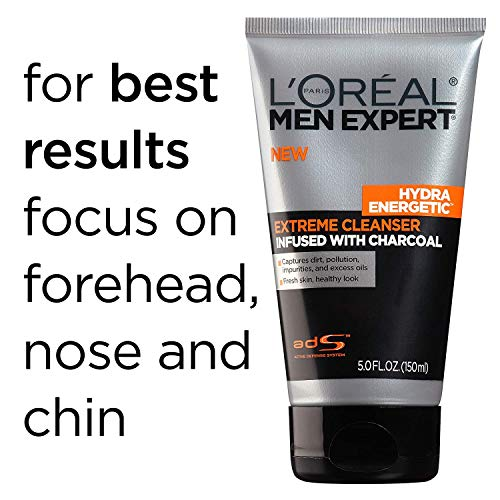 L'Oreal Men Expert Hydra Energetic Facial Cleanser with Charcoal for Daily Face Washing, Mens Face Wash, Beard and… 5