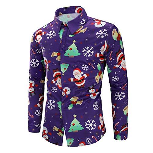 LEXUPA Men Casual Blouse Snowflakes Top Santa Candy Printed Christmas Shirt (XX-Large,Purple) ()