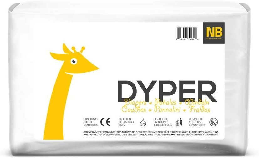 Dyper Responsibly Sourced Bamboo Baby Diapers   Ink Free, Soft + Durable   Newborn   Up to 10 lbs   52 Count