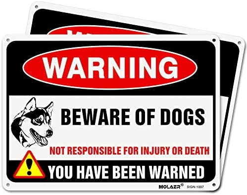 10x 7 .04 Aluminum Sign Rust Free Aluminum-UV Protected and Weatherproof 3 Pack Beware of Dog Sign