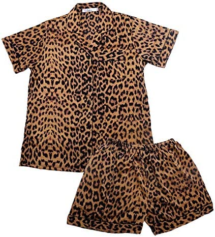 Women's Pajamas Set Leopard Striped Flower Love Cat Ladies Sleepwear Sets Short Sleeve Girls Pajamas Loungewear Nightgown