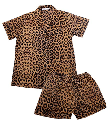 Women's Pajamas Set Ladies Sleepwear Sets Short Sleeve Girls Pajamas Set Loungewear Nightgown (Leopard Print, XL)