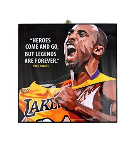 "Pop Art Famous Basketball Player Inspiration Quotes [ Kobe Bryant ] Framed Acrylic Canvas Poster Prints Artwork Modern Wall Decor, 10""x10"""